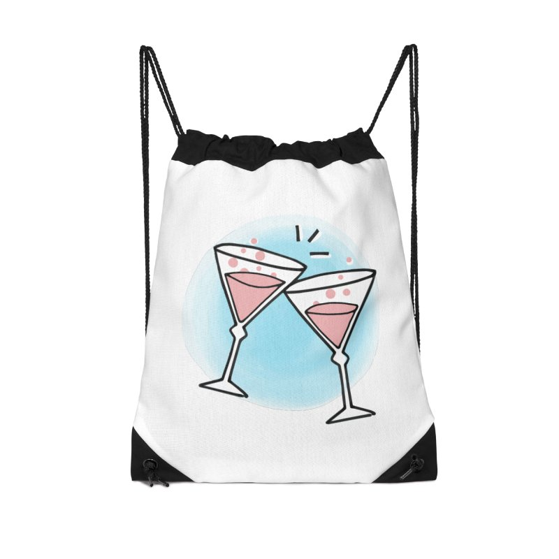 Pink champagne Accessories Drawstring Bag Bag by Kate Gabrielle's Artist Shop