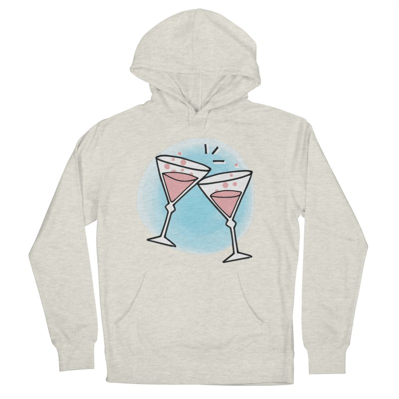 Pink champagne Women's French Terry Pullover Hoody by Kate Gabrielle's Artist Shop