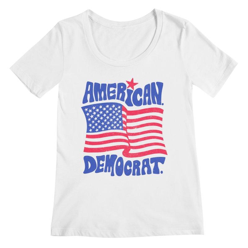 American. Democrat. Women's Regular Scoop Neck by Kate Gabrielle's Artist Shop