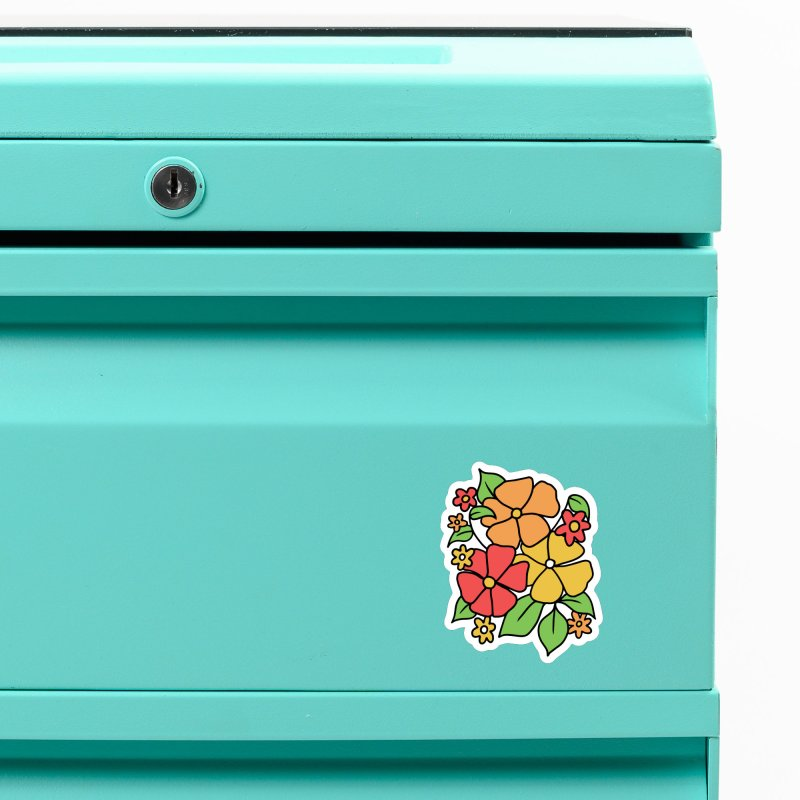 Retro Floral in orange and red Accessories Magnet by Kate Gabrielle's Threadless Shop