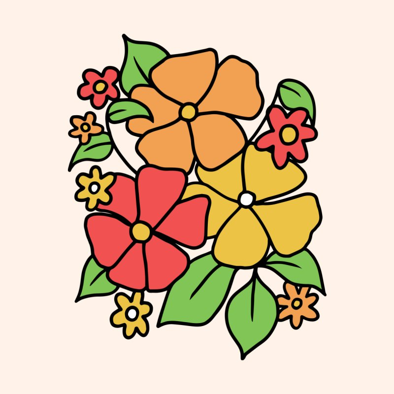 Retro Floral in orange and red Women's T-Shirt by Kate Gabrielle's Threadless Shop