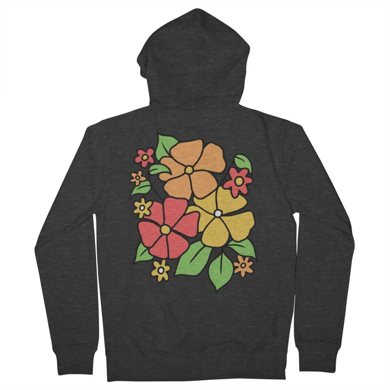 Retro Floral in orange and red Men's French Terry Zip-Up Hoody by Kate Gabrielle's Threadless Shop