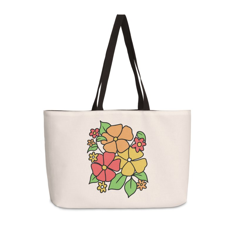 Retro Floral in orange and red Accessories Weekender Bag Bag by Kate Gabrielle's Threadless Shop