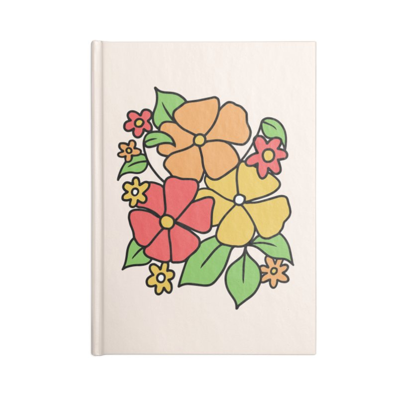 Retro Floral in orange and red Accessories Lined Journal Notebook by Kate Gabrielle's Threadless Shop