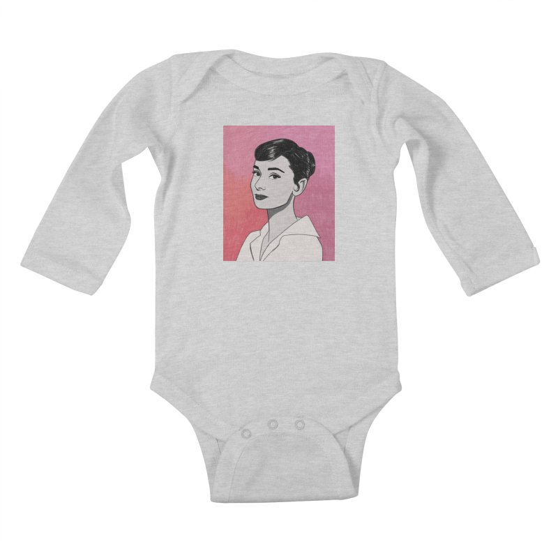 Audrey Hepburn Kids Baby Longsleeve Bodysuit by Kate Gabrielle's Threadless Shop