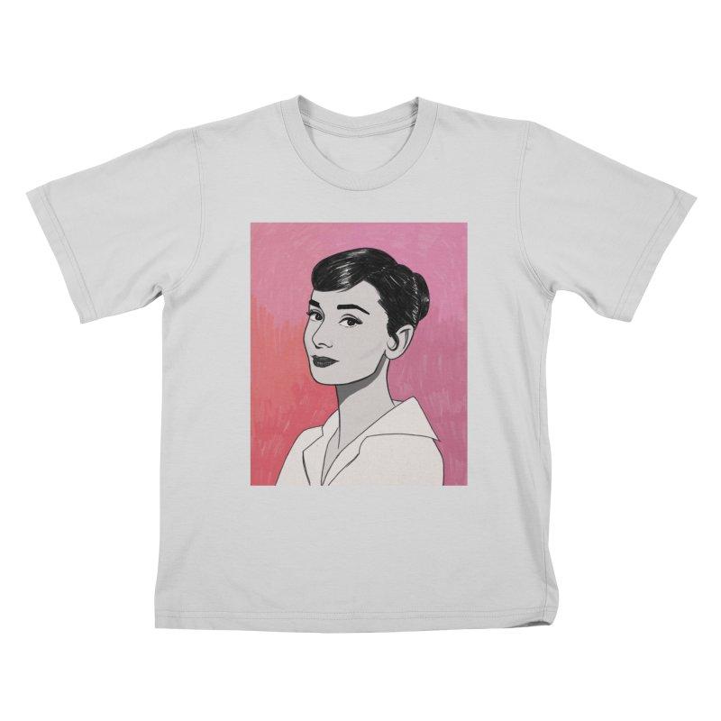 Audrey Hepburn Kids T-Shirt by Kate Gabrielle's Threadless Shop