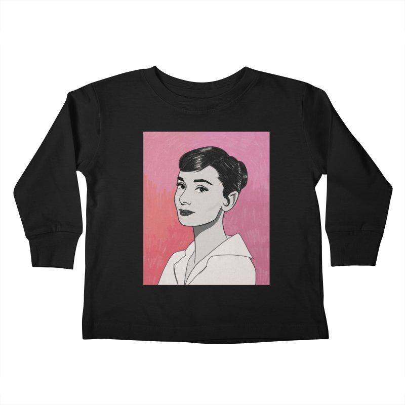 Audrey Hepburn Kids Toddler Longsleeve T-Shirt by Kate Gabrielle's Threadless Shop