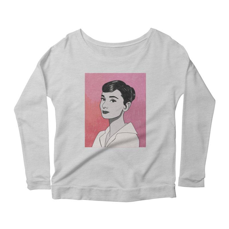 Audrey Hepburn Women's Scoop Neck Longsleeve T-Shirt by Kate Gabrielle's Threadless Shop