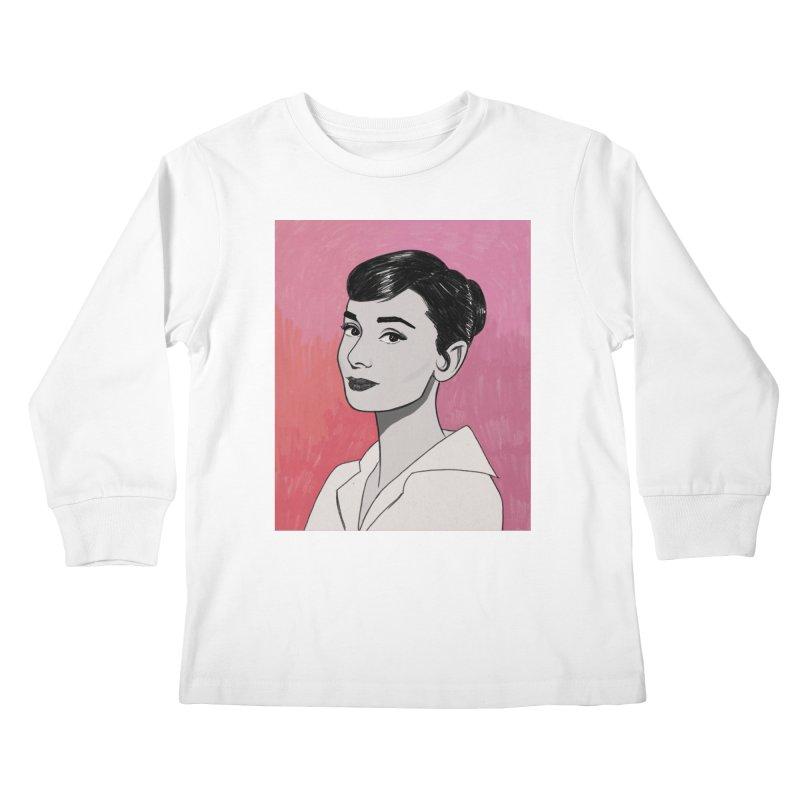 Audrey Hepburn Kids Longsleeve T-Shirt by Kate Gabrielle's Threadless Shop