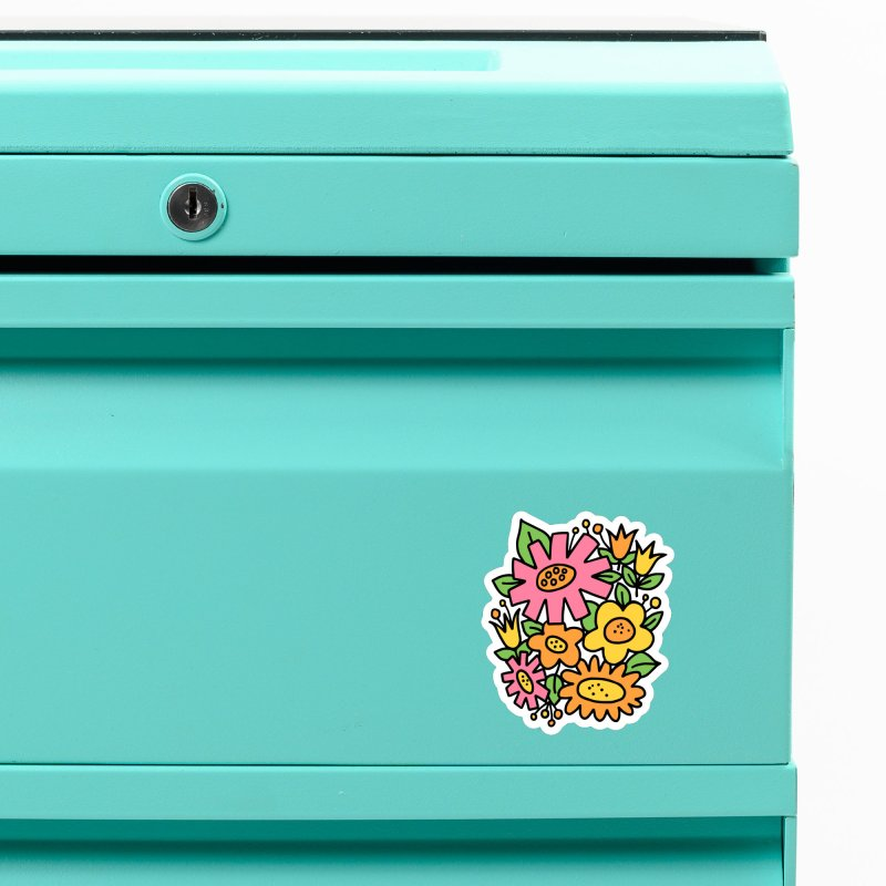 Retro Floral in pink and yellow Accessories Magnet by Kate Gabrielle's Threadless Shop