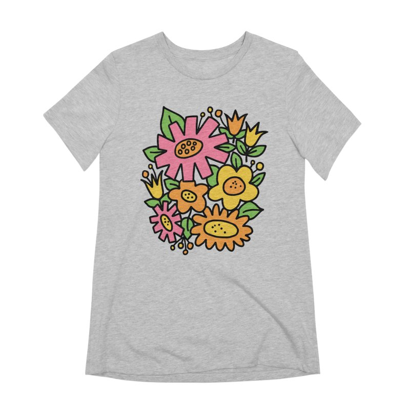 Retro Floral in pink and yellow Women's Extra Soft T-Shirt by Kate Gabrielle's Threadless Shop