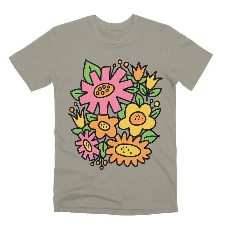 Retro Floral in pink and yellow Men's Premium T-Shirt by Kate Gabrielle's Threadless Shop