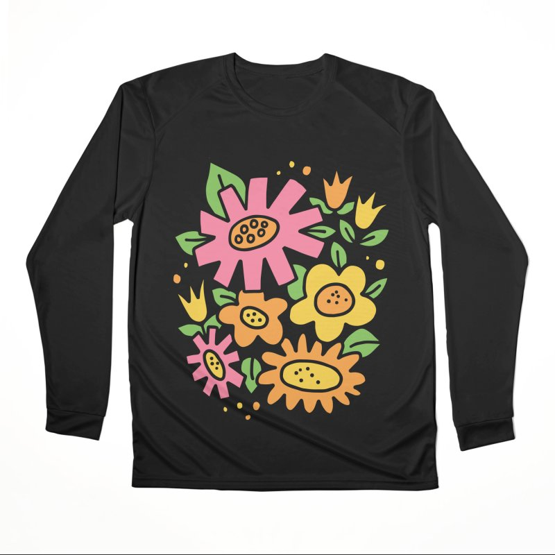 Retro Floral in pink and yellow Women's Performance Unisex Longsleeve T-Shirt by Kate Gabrielle's Threadless Shop