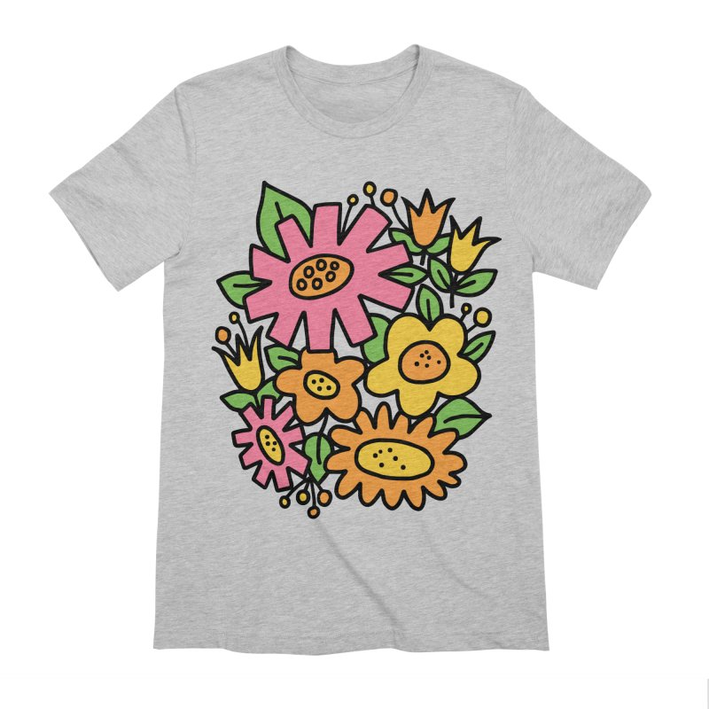 Retro Floral in pink and yellow Men's Extra Soft T-Shirt by Kate Gabrielle's Threadless Shop