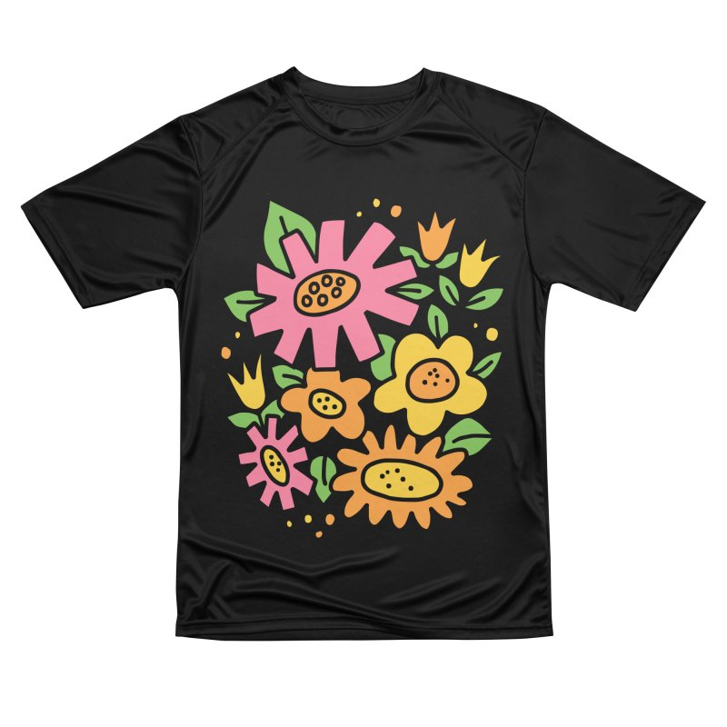Retro Floral in pink and yellow Women's Performance Unisex T-Shirt by Kate Gabrielle's Threadless Shop