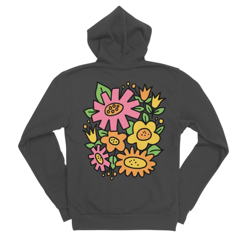 Retro Floral in pink and yellow Women's Sponge Fleece Zip-Up Hoody by Kate Gabrielle's Threadless Shop