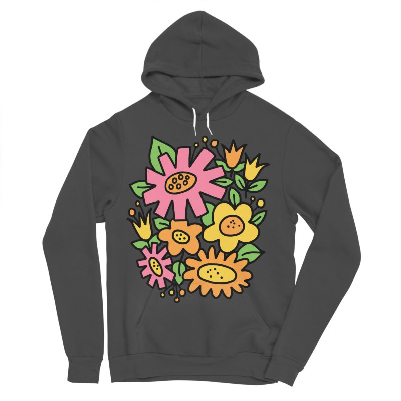Retro Floral in pink and yellow Women's Sponge Fleece Pullover Hoody by Kate Gabrielle's Threadless Shop