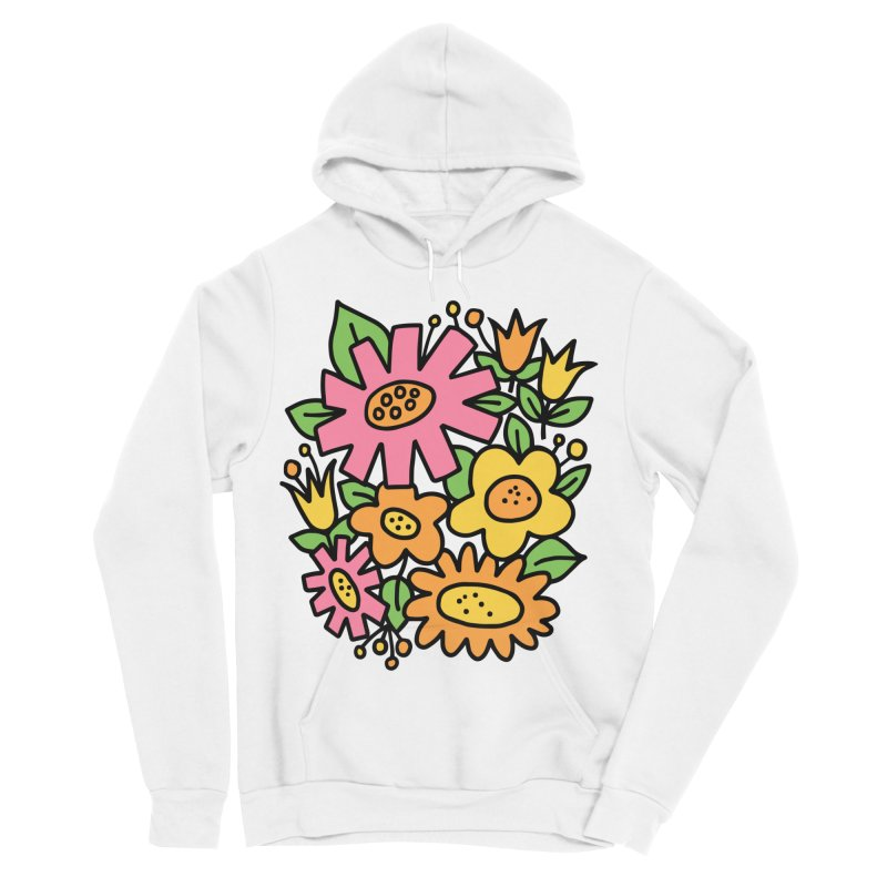 Retro Floral in pink and yellow Men's Sponge Fleece Pullover Hoody by Kate Gabrielle's Threadless Shop