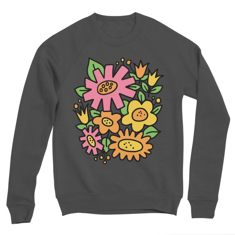 Retro Floral in pink and yellow Men's Sponge Fleece Sweatshirt by Kate Gabrielle's Threadless Shop