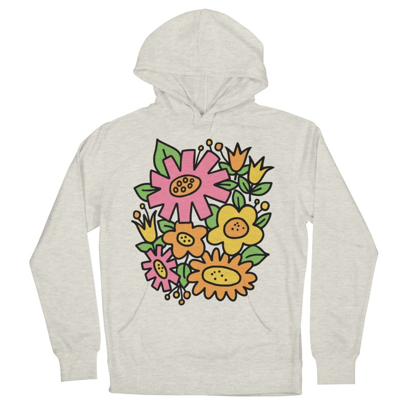Retro Floral in pink and yellow Women's French Terry Pullover Hoody by Kate Gabrielle's Threadless Shop