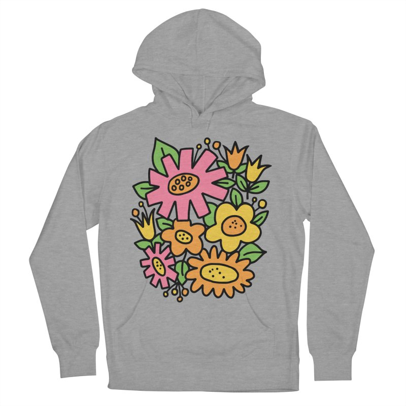 Retro Floral in pink and yellow Men's French Terry Pullover Hoody by Kate Gabrielle's Threadless Shop