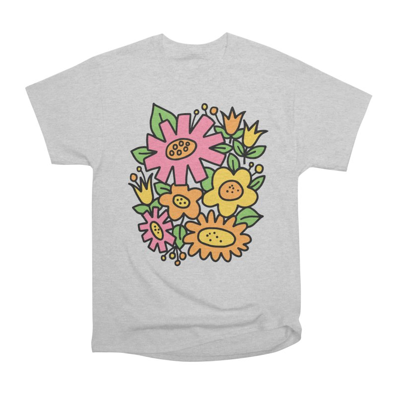 Retro Floral in pink and yellow Women's Heavyweight Unisex T-Shirt by Kate Gabrielle's Threadless Shop
