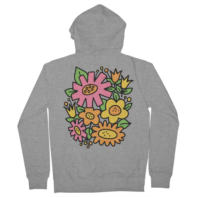 Retro Floral in pink and yellow Men's French Terry Zip-Up Hoody by Kate Gabrielle's Threadless Shop