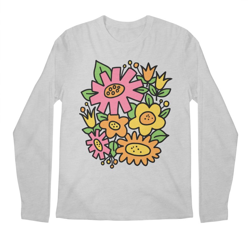 Retro Floral in pink and yellow Men's Regular Longsleeve T-Shirt by Kate Gabrielle's Threadless Shop