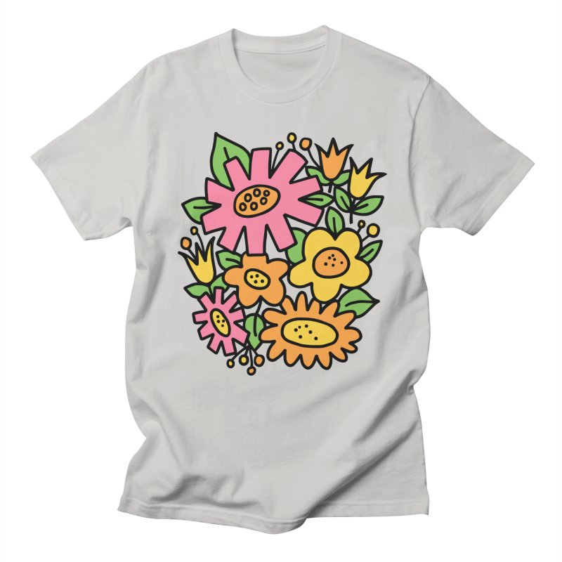 Retro Floral in pink and yellow Men's Regular T-Shirt by Kate Gabrielle's Threadless Shop