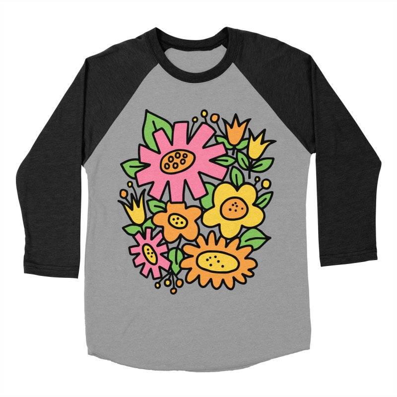Retro Floral in pink and yellow Women's Baseball Triblend Longsleeve T-Shirt by Kate Gabrielle's Threadless Shop