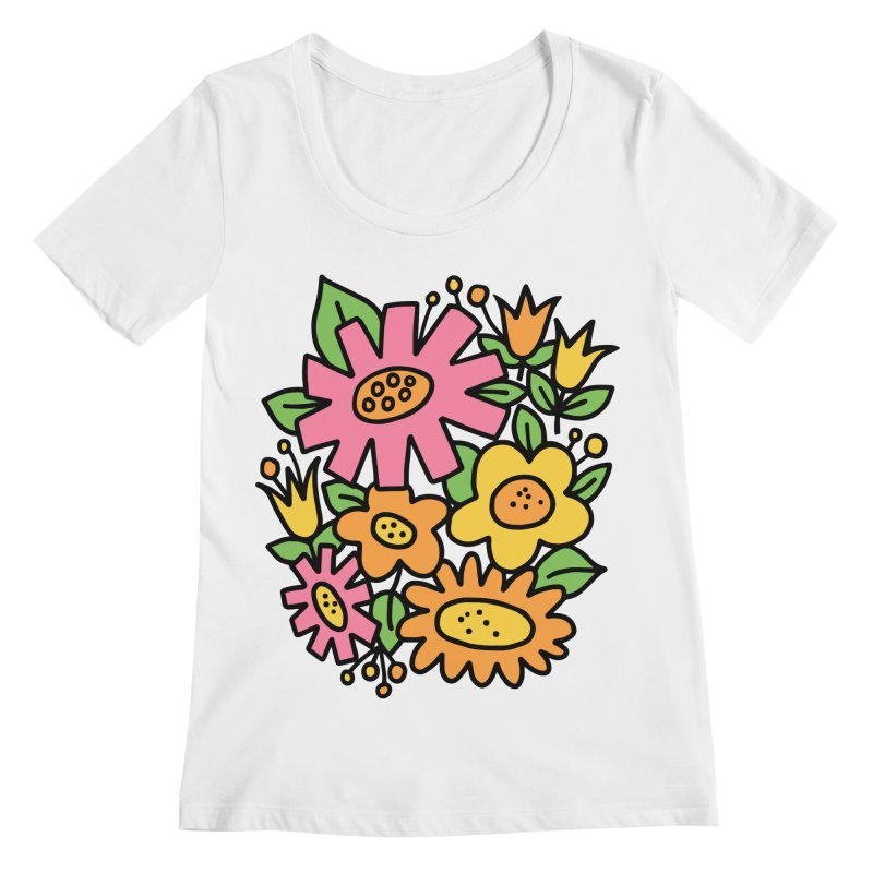 Retro Floral in pink and yellow Women's Regular Scoop Neck by Kate Gabrielle's Threadless Shop