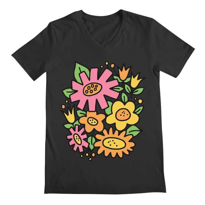Retro Floral in pink and yellow Men's Regular V-Neck by Kate Gabrielle's Threadless Shop