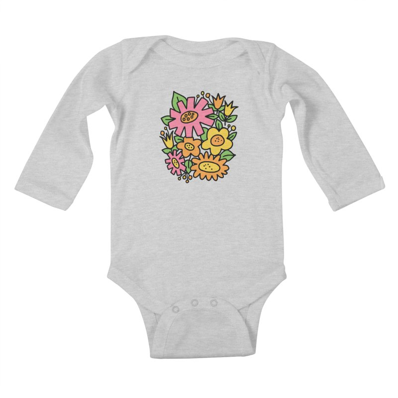 Retro Floral in pink and yellow Kids Baby Longsleeve Bodysuit by Kate Gabrielle's Threadless Shop