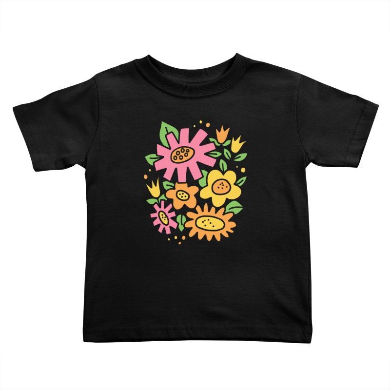Retro Floral in pink and yellow Kids Toddler T-Shirt by Kate Gabrielle's Threadless Shop