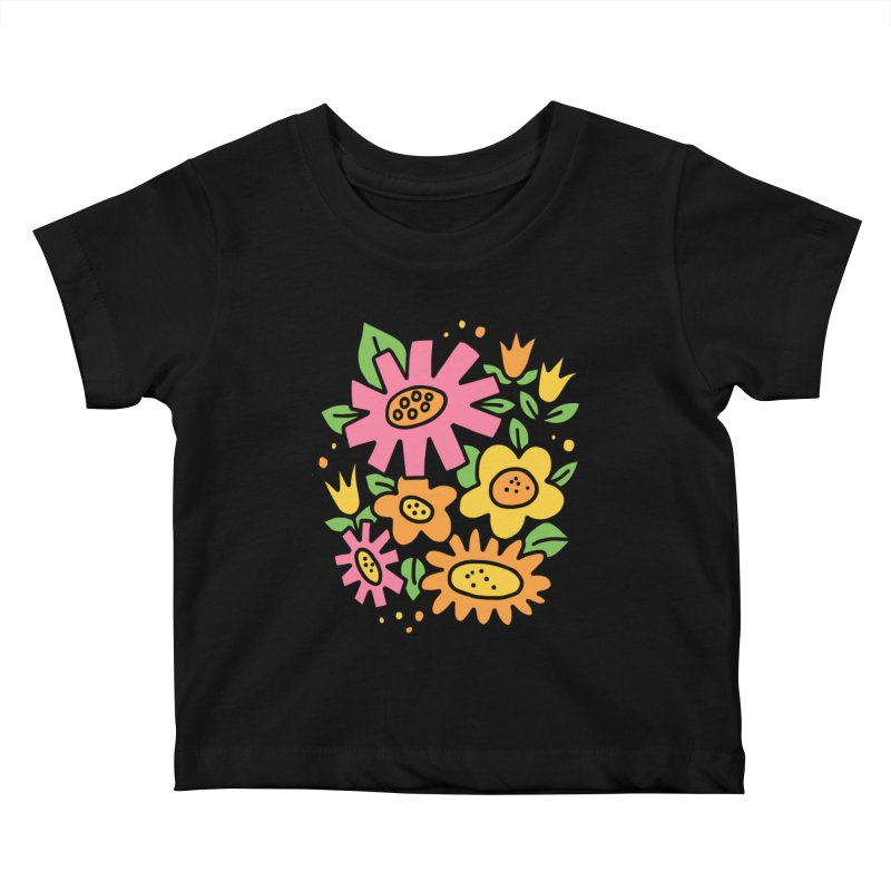 Retro Floral in pink and yellow Kids Baby T-Shirt by Kate Gabrielle's Threadless Shop