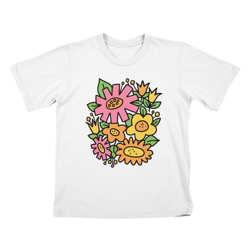 Retro Floral in pink and yellow Kids T-Shirt by Kate Gabrielle's Threadless Shop