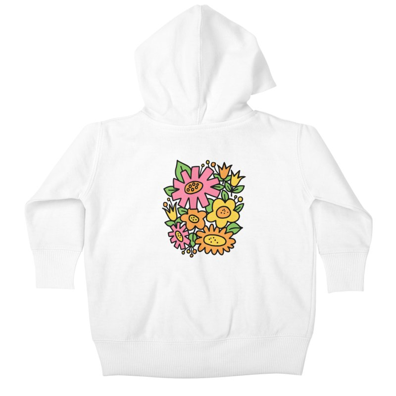 Retro Floral in pink and yellow Kids Baby Zip-Up Hoody by Kate Gabrielle's Threadless Shop
