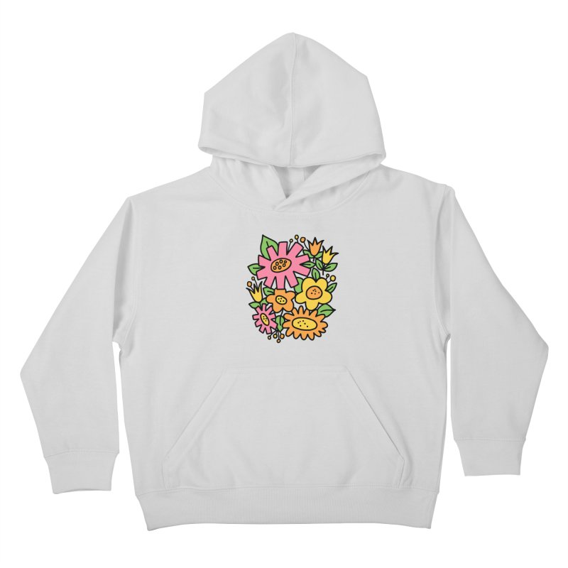 Retro Floral in pink and yellow Kids Pullover Hoody by Kate Gabrielle's Threadless Shop