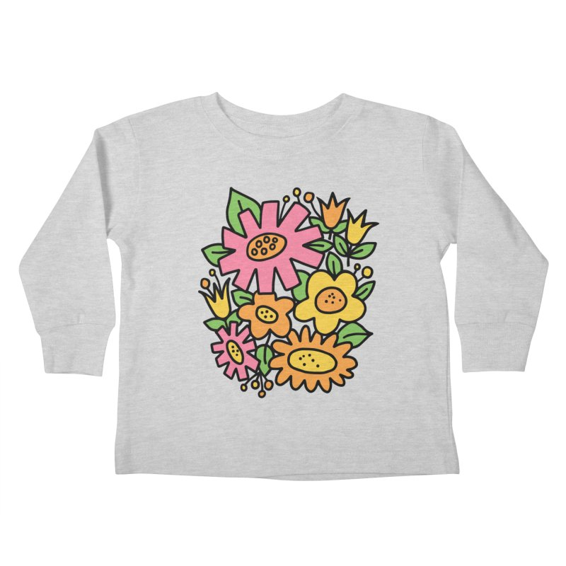 Retro Floral in pink and yellow Kids Toddler Longsleeve T-Shirt by Kate Gabrielle's Threadless Shop