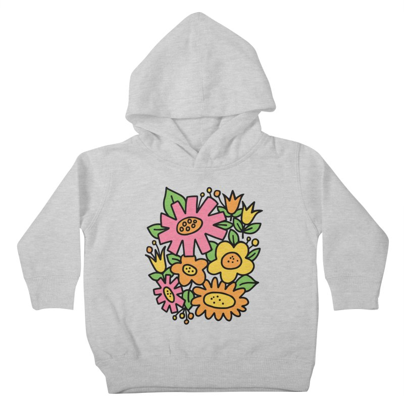 Retro Floral in pink and yellow Kids Toddler Pullover Hoody by Kate Gabrielle's Threadless Shop