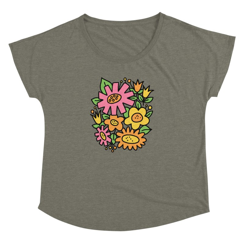 Retro Floral in pink and yellow Women's Dolman Scoop Neck by Kate Gabrielle's Threadless Shop