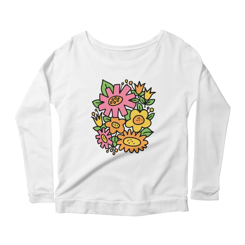 Retro Floral in pink and yellow Women's Scoop Neck Longsleeve T-Shirt by Kate Gabrielle's Threadless Shop