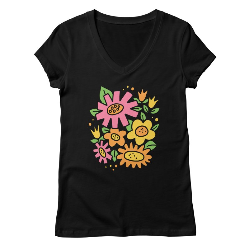 Retro Floral in pink and yellow Women's Regular V-Neck by Kate Gabrielle's Threadless Shop