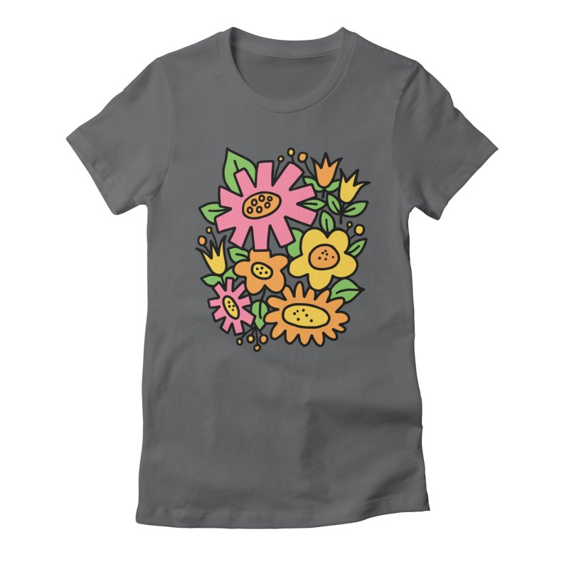 Retro Floral in pink and yellow Women's Fitted T-Shirt by Kate Gabrielle's Threadless Shop