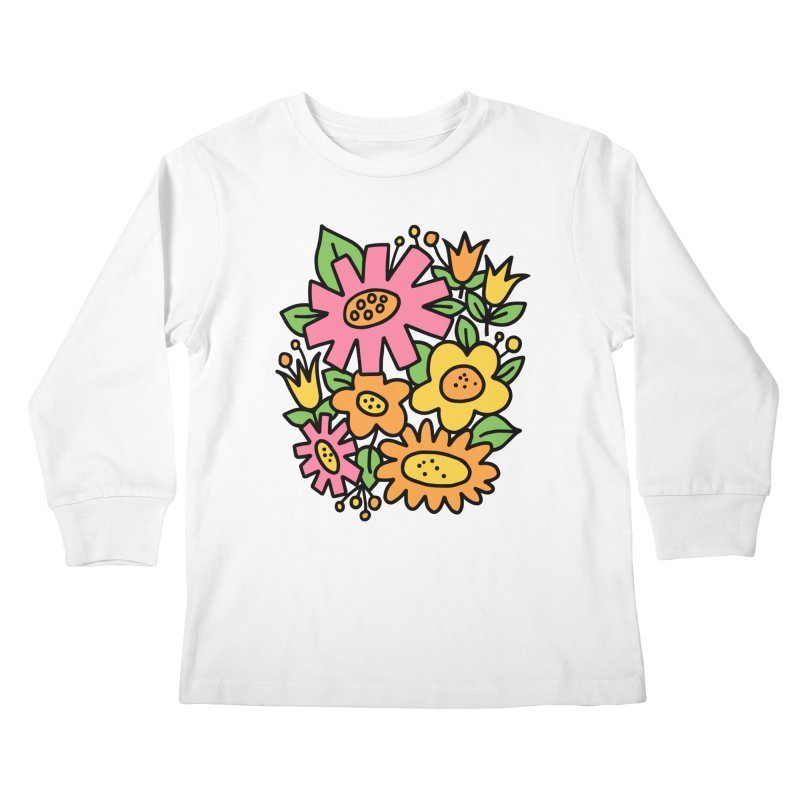 Retro Floral in pink and yellow Kids Longsleeve T-Shirt by Kate Gabrielle's Threadless Shop