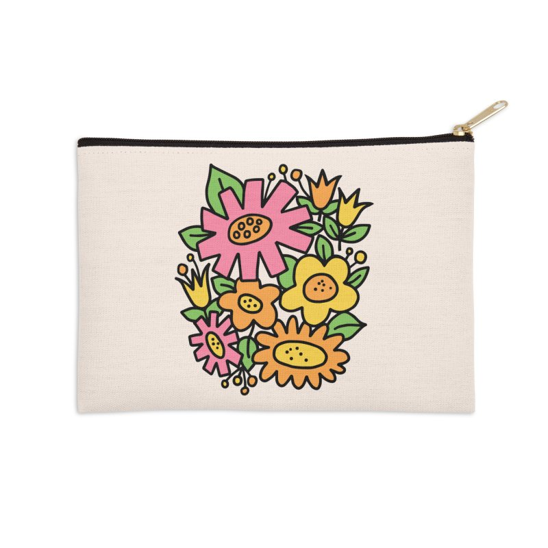Retro Floral in pink and yellow Accessories Zip Pouch by Kate Gabrielle's Threadless Shop