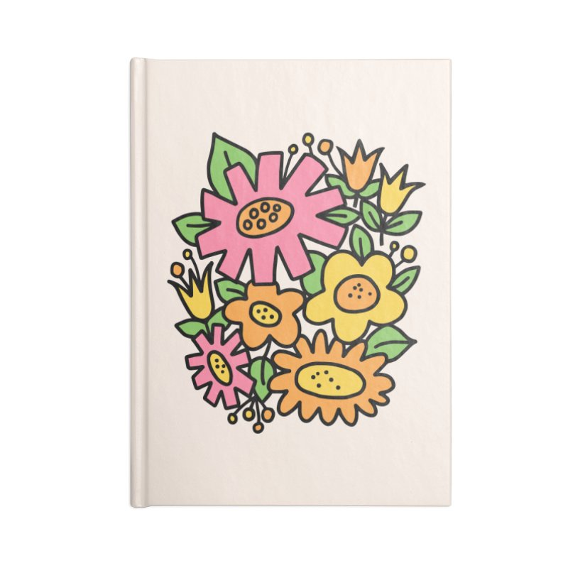 Retro Floral in pink and yellow Accessories Lined Journal Notebook by Kate Gabrielle's Threadless Shop