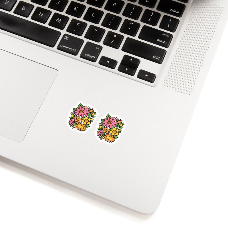 Retro Floral in pink and yellow Accessories Sticker by Kate Gabrielle's Threadless Shop