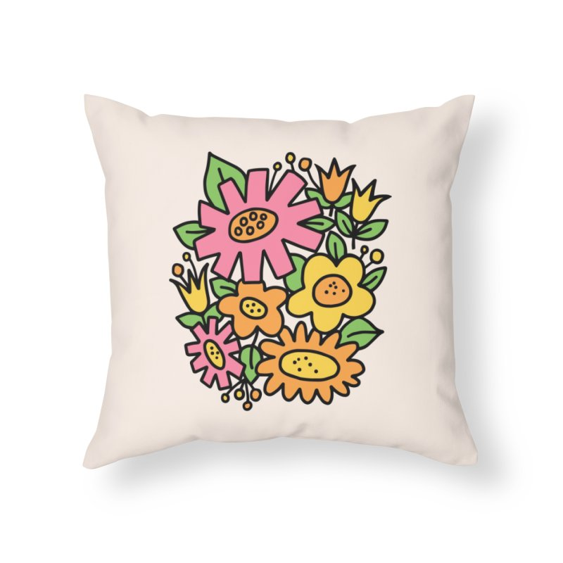Retro Floral in pink and yellow Home Throw Pillow by Kate Gabrielle's Threadless Shop