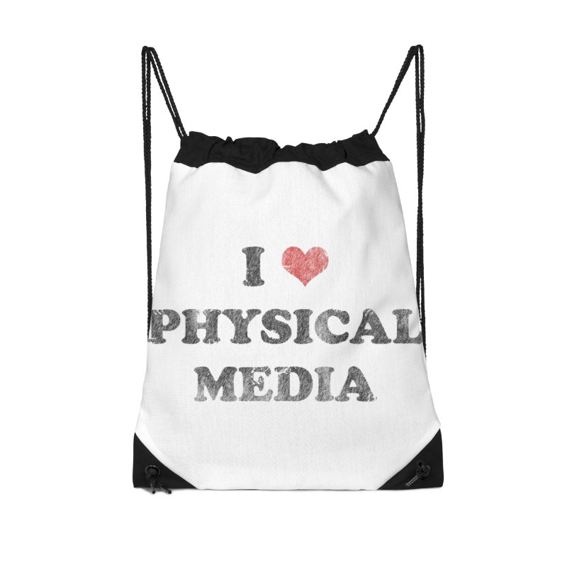 I love physical media Accessories Drawstring Bag Bag by Kate Gabrielle's Threadless Shop